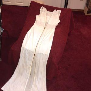 Strapless Net Double-Zip Dress
